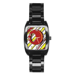 Red and yellow design Stainless Steel Barrel Watch