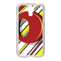 Red and yellow design Samsung GALAXY S4 I9500/ I9505 Case (White)