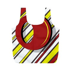 Red and yellow design Full Print Recycle Bags (M)