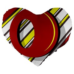Red and yellow design Large 19  Premium Flano Heart Shape Cushions