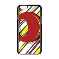 Red and yellow design Apple iPhone 6/6S Black Enamel Case