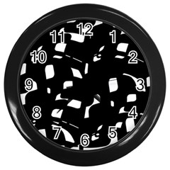 Black and white pattern Wall Clocks (Black)