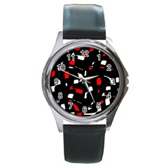 Red, black and white pattern Round Metal Watch