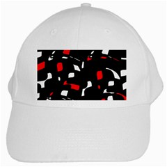 Red, black and white pattern White Cap