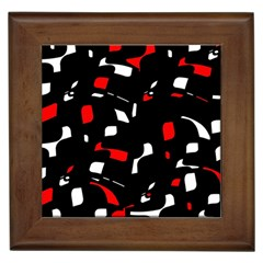 Red, black and white pattern Framed Tiles