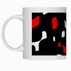 Red, black and white pattern White Mugs