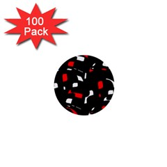 Red, black and white pattern 1  Mini Buttons (100 pack)
