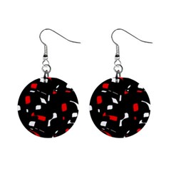 Red, black and white pattern Mini Button Earrings