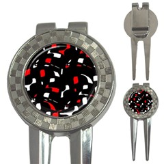 Red, black and white pattern 3-in-1 Golf Divots