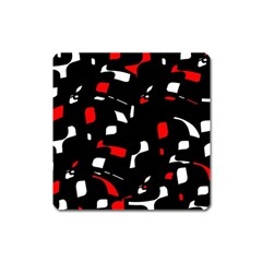 Red, black and white pattern Square Magnet