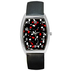 Red, black and white pattern Barrel Style Metal Watch