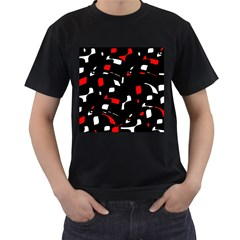 Red, black and white pattern Men s T-Shirt (Black) (Two Sided)