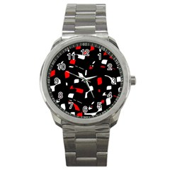 Red, black and white pattern Sport Metal Watch
