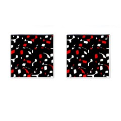 Red, black and white pattern Cufflinks (Square)