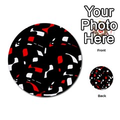 Red, black and white pattern Multi-purpose Cards (Round)
