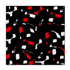 Red, black and white pattern Face Towel