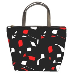 Red, black and white pattern Bucket Bags
