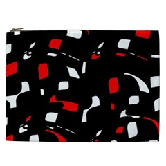 Red, black and white pattern Cosmetic Bag (XXL)