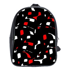Red, black and white pattern School Bags (XL)