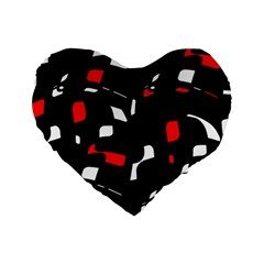 Red, black and white pattern Standard 16  Premium Heart Shape Cushions