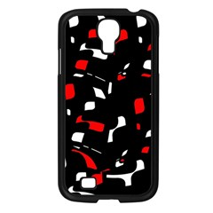 Red, black and white pattern Samsung Galaxy S4 I9500/ I9505 Case (Black)