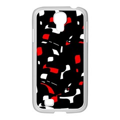 Red, black and white pattern Samsung GALAXY S4 I9500/ I9505 Case (White)