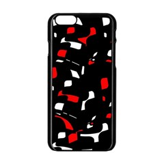 Red, black and white pattern Apple iPhone 6/6S Black Enamel Case
