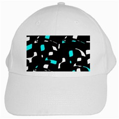 Blue, black and white pattern White Cap