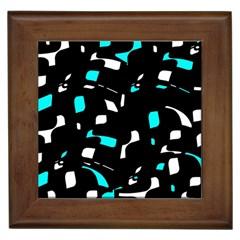 Blue, black and white pattern Framed Tiles