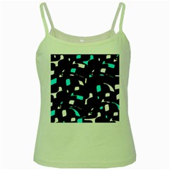 Blue, black and white pattern Green Spaghetti Tank