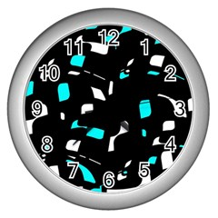 Blue, black and white pattern Wall Clocks (Silver)