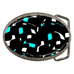 Blue, black and white pattern Belt Buckles