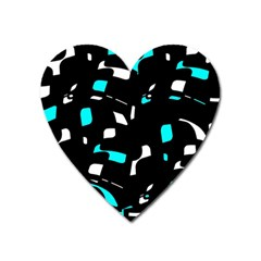 Blue, black and white pattern Heart Magnet