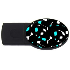 Blue, black and white pattern USB Flash Drive Oval (2 GB)