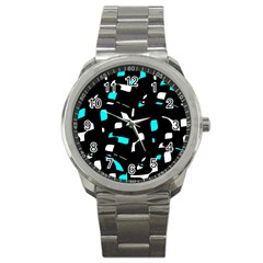 Blue, black and white pattern Sport Metal Watch