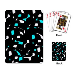 Blue, black and white pattern Playing Card