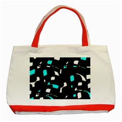 Blue, black and white pattern Classic Tote Bag (Red)