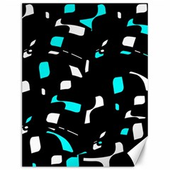 Blue, black and white pattern Canvas 12  x 16