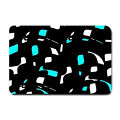 Blue, black and white pattern Small Doormat