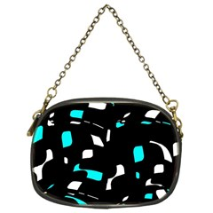 Blue, black and white pattern Chain Purses (One Side)