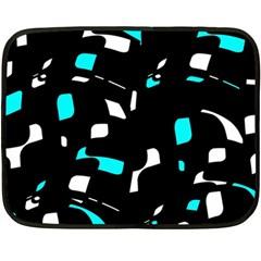 Blue, black and white pattern Fleece Blanket (Mini)