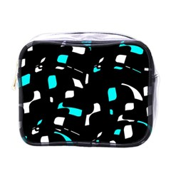 Blue, black and white pattern Mini Toiletries Bags