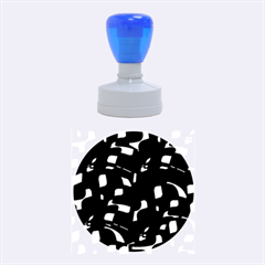 Blue, black and white pattern Rubber Round Stamps (Medium)