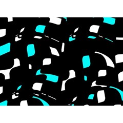 Blue, black and white pattern Birthday Cake 3D Greeting Card (7x5)