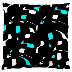 Blue, black and white pattern Large Cushion Case (Two Sides)