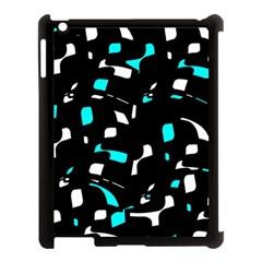 Blue, black and white pattern Apple iPad 3/4 Case (Black)