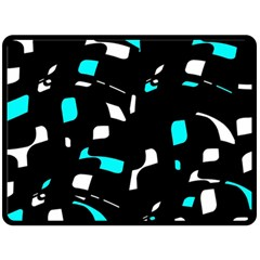 Blue, black and white pattern Double Sided Fleece Blanket (Large)