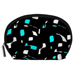 Blue, black and white pattern Accessory Pouches (Large)