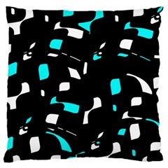Blue, black and white pattern Standard Flano Cushion Case (Two Sides)