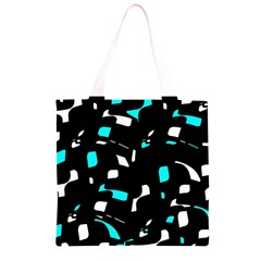 Blue, black and white pattern Grocery Light Tote Bag